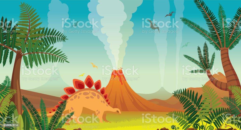 先史時代の自然風景 - 火山、恐竜、植物。 ベクターアートイラスト