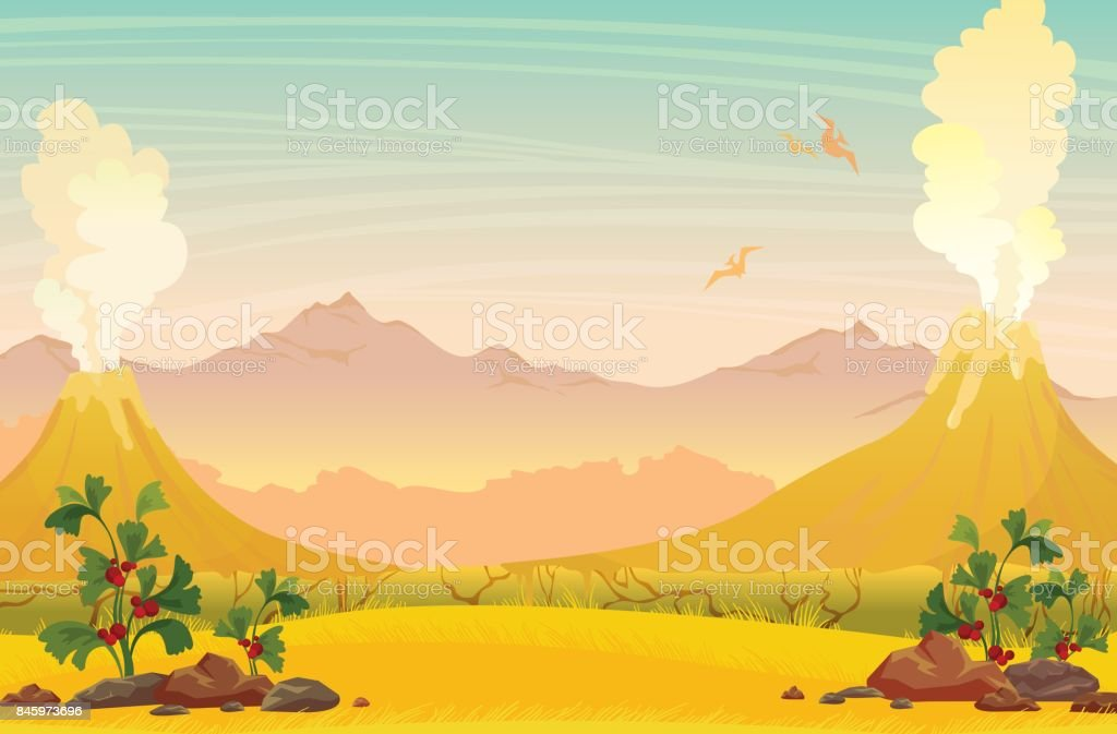 Prehistoric nature landscape - volcanoes, pterodactyls and mountains. vector art illustration