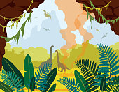 Prehistoric nature landscape with cave, dinosaurs and plants.