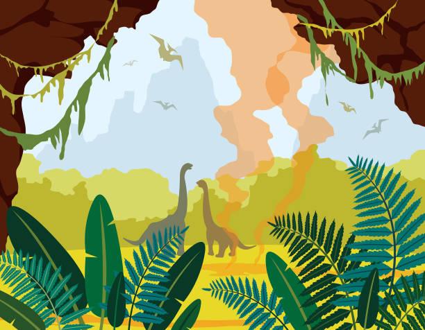 illustrations, cliparts, dessins animés et icônes de paysage naturel préhistoriques, avec cave, de dinosaures et de plantes. - dinosaure