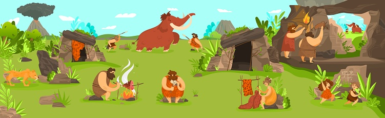 Prehistoric people life in primitive tribe settlement, men hunting mammoth and children playing, vector illustration