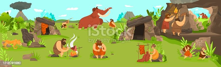 istock Prehistoric people life in primitive tribe settlement, men hunting mammoth and children playing, vector illustration 1218791680