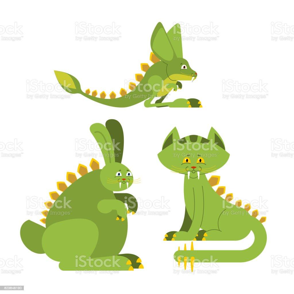 Ilustración de Dinosaurio Prehistórico Conejo Gato De Dino Monstruo ...
