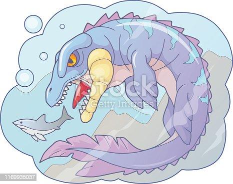 istock prehistoric water dinosaur mosasaur, funny illustration 1169935037