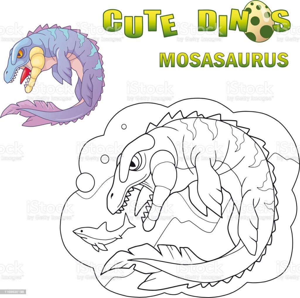 Cartoon prehistoric water dinosaur mosasaur, funny illustration