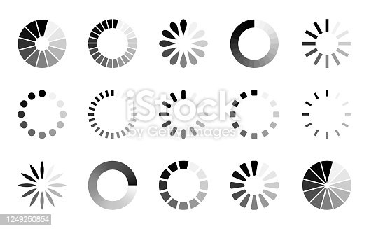 Preloader Icon Set - Vector Collection of Loading Progress Round Bars