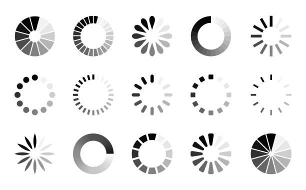 zestaw ikon wstępnego ładowania — wektorowa kolekcja pasków rundy postępu ładowania - postęp stock illustrations