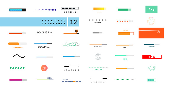 Preloaders and progress bar. Web preloader. Round progress bar. Set of loading elements. Loading and buffering icon. Collection of modern preloaders and progress loading bars. Vector set of preloaders