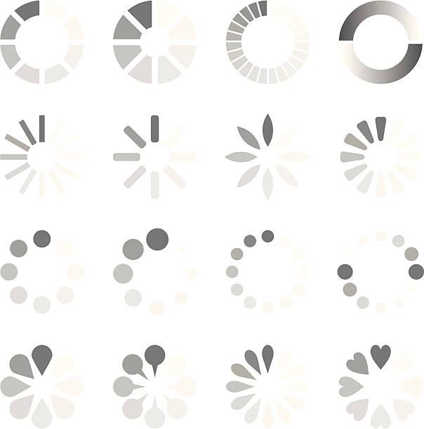 preloaders - oś czasu pomoc wizualna stock illustrations