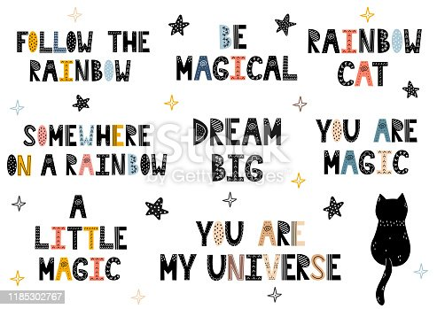 Pre-made phrases set in Scandinavian style. Hand drawn lettering collection. Quotes - Follow the Rainbow, Be Magical, Rainbow Cat, You are Magic, Dream Big, etc. Vector illustration