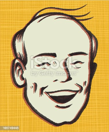 this is an illustration of a premature balding man, in a throwback retro style