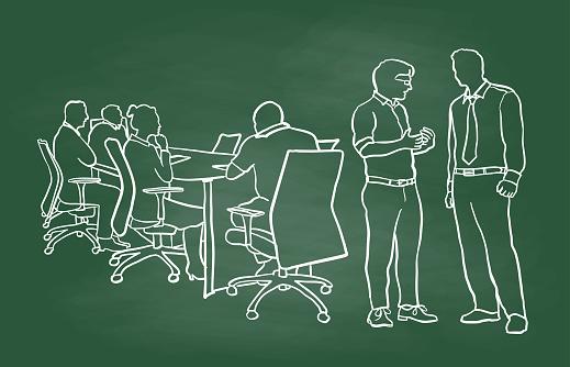 Pre-Meeting Business Conversation Chalkboard