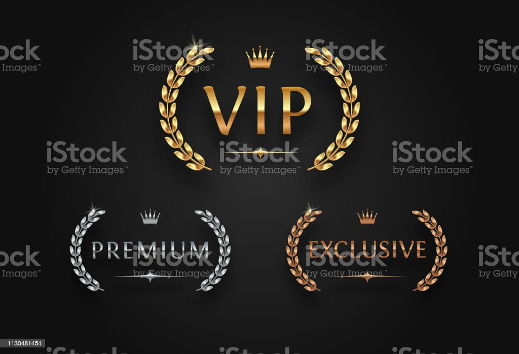 Vip Premium And Exclusive Sign With Laurel Wreath Stock
