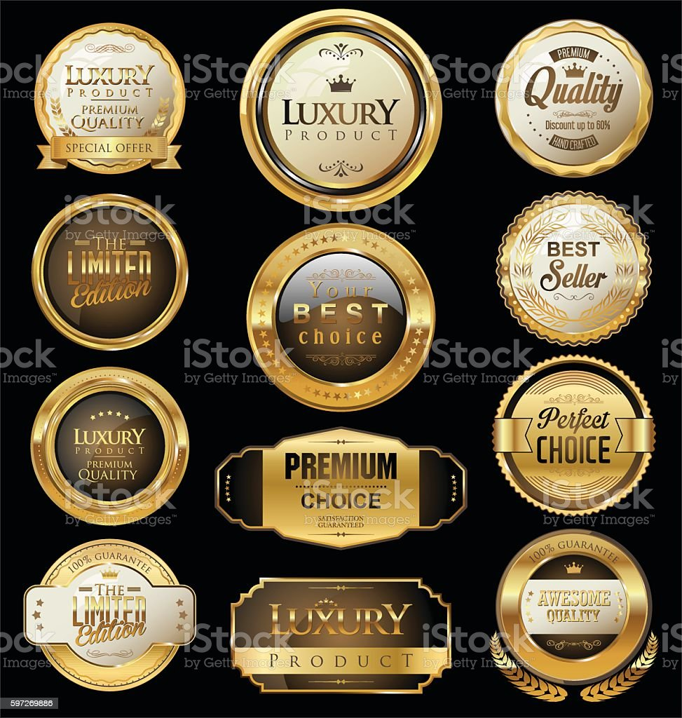 Premium and luxury golden retro badges and labels collection royalty-free premium and luxury golden retro badges and labels collection stock vector art & more images of backgrounds