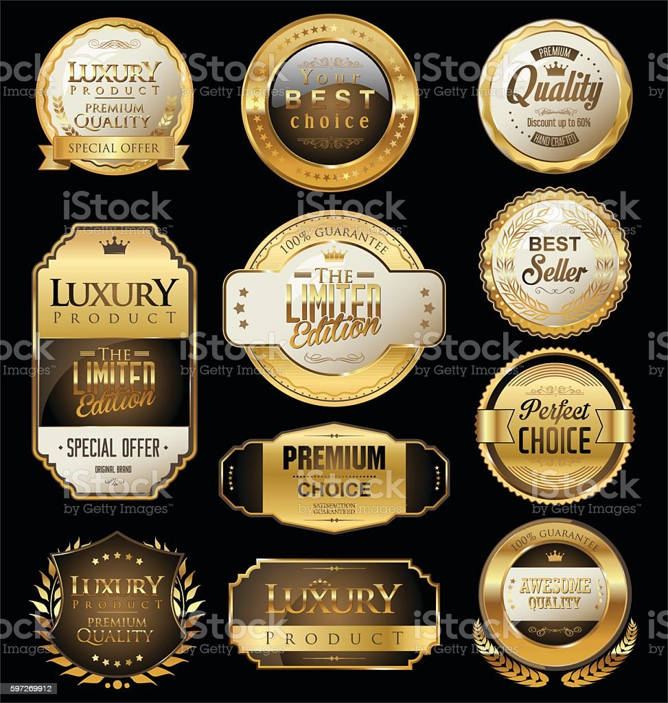 Premium and luxury golden retro badges and labels collection Lizenzfreies premium and luxury golden retro badges and labels collection stock vektor art und mehr bilder von abzeichen