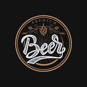 premium beer emblem. Handwritten lettering label, badge. Isolated on white background. Vector illustration.
