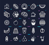 Premium beverages and fresh food outline style symbols on dark background. Line vector icons set for infographics, mobile and web designs.