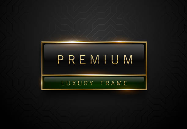 illustrations, cliparts, dessins animés et icônes de premium label vert noir avec cadre doré sur fond géométrique noir. modèle de luxe sombre de logo. illustration vectorielle. - voyages en première classe