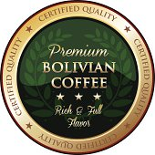 Premium Bolivian coffee gold emblem with a laurel.