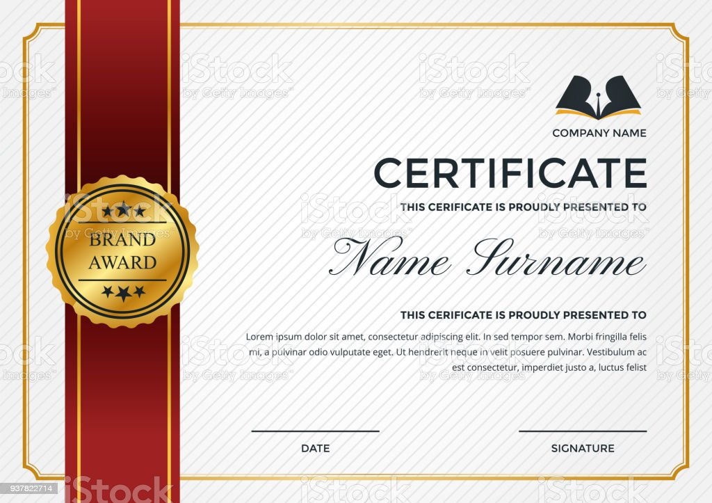 Premiumbusinesszertifikatvorlage Mit Bildungsymbol Stock Vektor Art ...