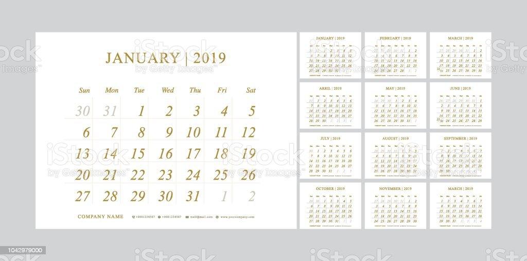 Calendario 2019 Illustrator.Premium Calendar Planner 2019 Years Gold Color Simple Minimal Wall Type Calendar Golden Template Week Starts From Sunday Vector Illustrator Stock
