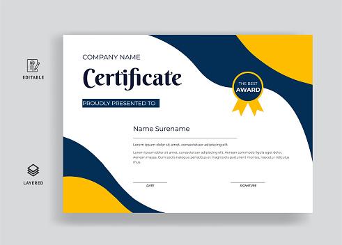 premium certificate of appreciation award template design
