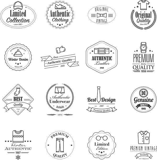 Tarjetas con iconos de ropa exclusiva - ilustración de arte vectorial