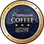 Premium coffee gold emblem with a laurel.