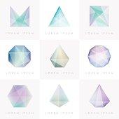premium colorful collection set of trendy soft mesh facet gems