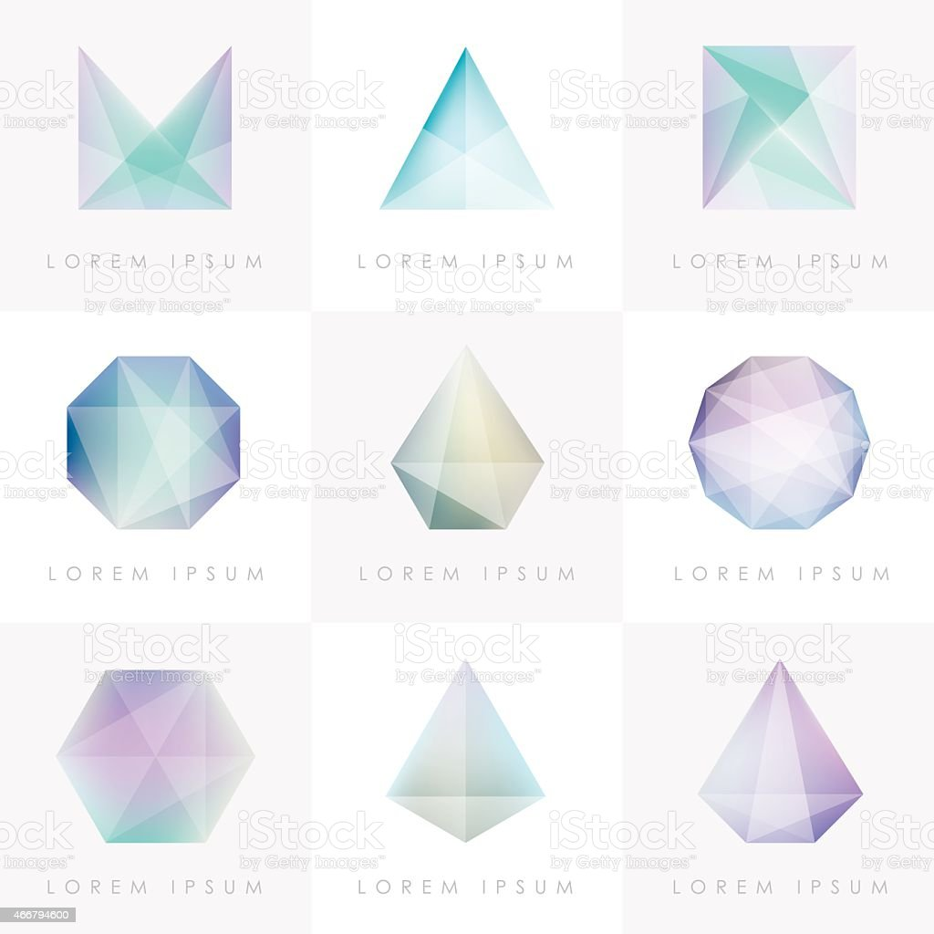 premium colorful collection set of trendy soft mesh facet gems vector art illustration