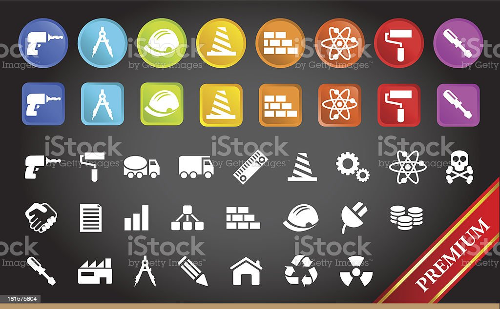 Premium Construction and Engineering Icons. vector art illustration