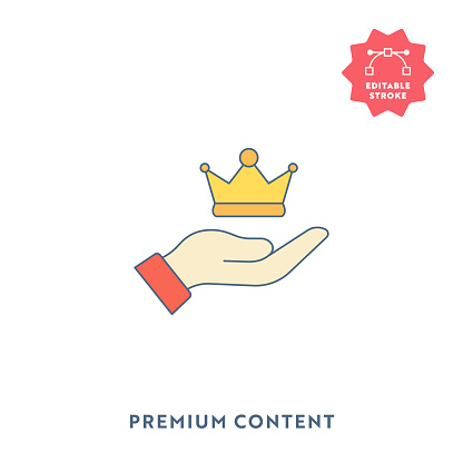Premium Content Single Flat Icon with Editable Stroke and Pixel Perfect.