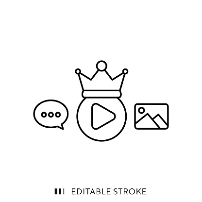 Premium Content Single Line Icon with Editable Stroke and Pixel Perfect.