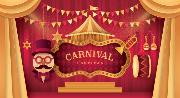 premium curtains stage with circus frame bordor, day scene carnival festival - circus stock illustrations