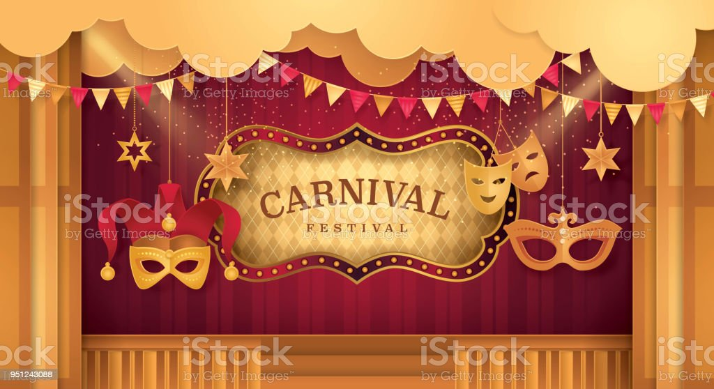 Premium Curtains Stage With Circus Frame Bordor Day Scene Carnival ...