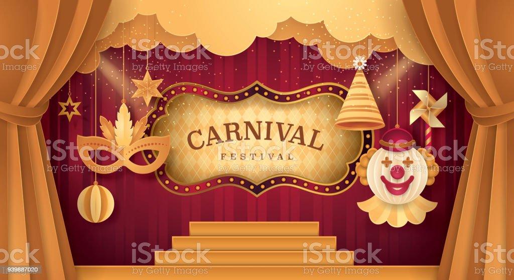 Premium Curtains Stage With Circus Frame Bordor Fun Fair Day Scene ...