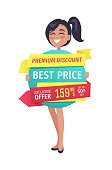 Premium discount and best price exclusive offer for clients. Smiling woman holding ribbon with clearance and good deal for shoppers isolated on vector