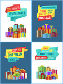 Premium discount and super sale hot price posters set. Only one week clearance. Gift boxes with decoration tied bows and wrapping isolated on vector