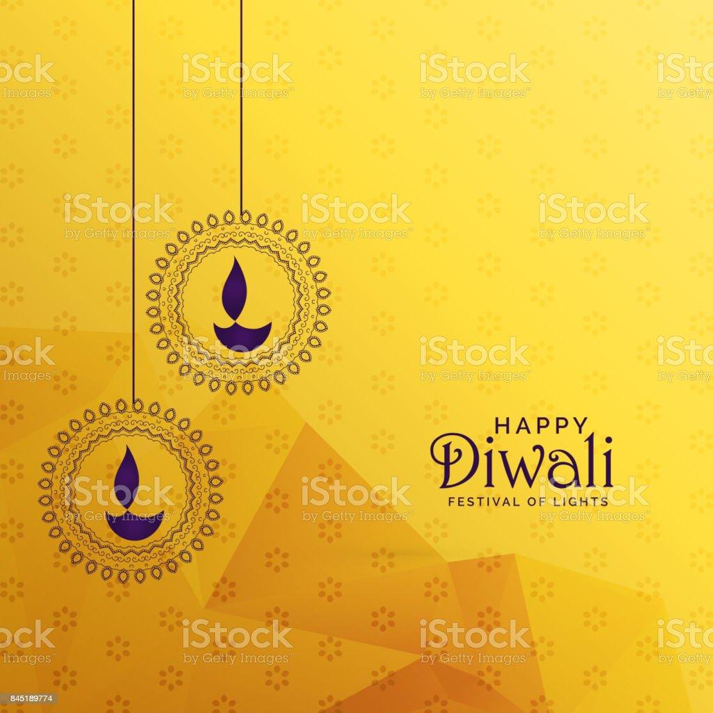premium diwali greeting card design with diya decoration vector art illustration