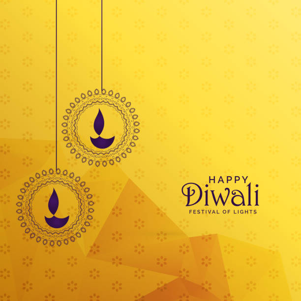 premium diwali greeting card design with diya decoration - diwali stock illustrations, clip art, cartoons, & icons
