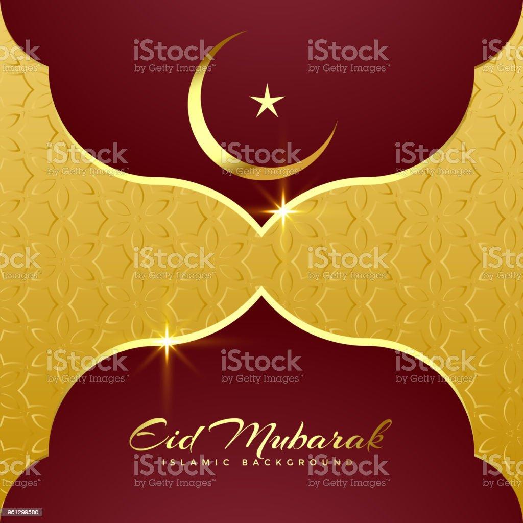 premium eid mubarak greeting card design vector art illustration