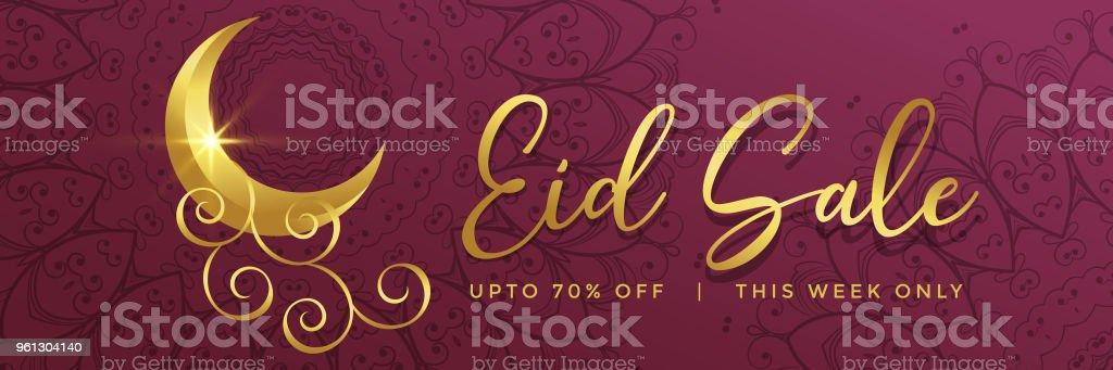 premium eid sale banner design with golden creative moon vector art illustration