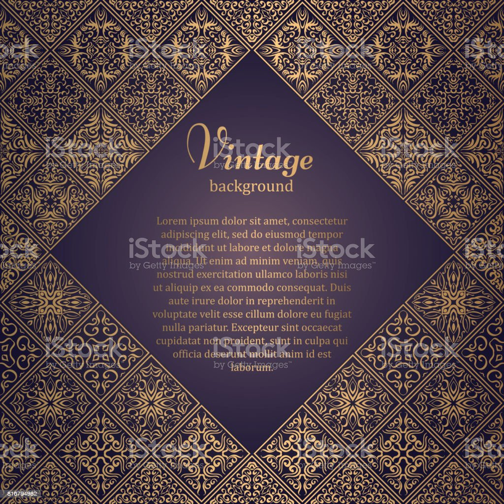 Premium Frame In Oriental Style. Mosaic Background. Islamic Card With Place  For Text.