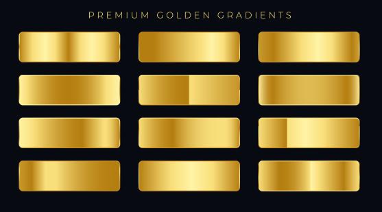 premium golden gradients swatches set