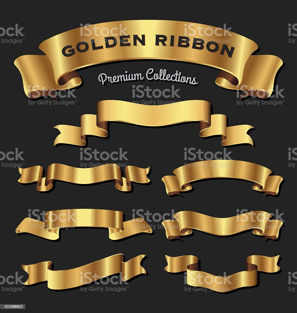 Premium golden ribbons for your design vector art illustration