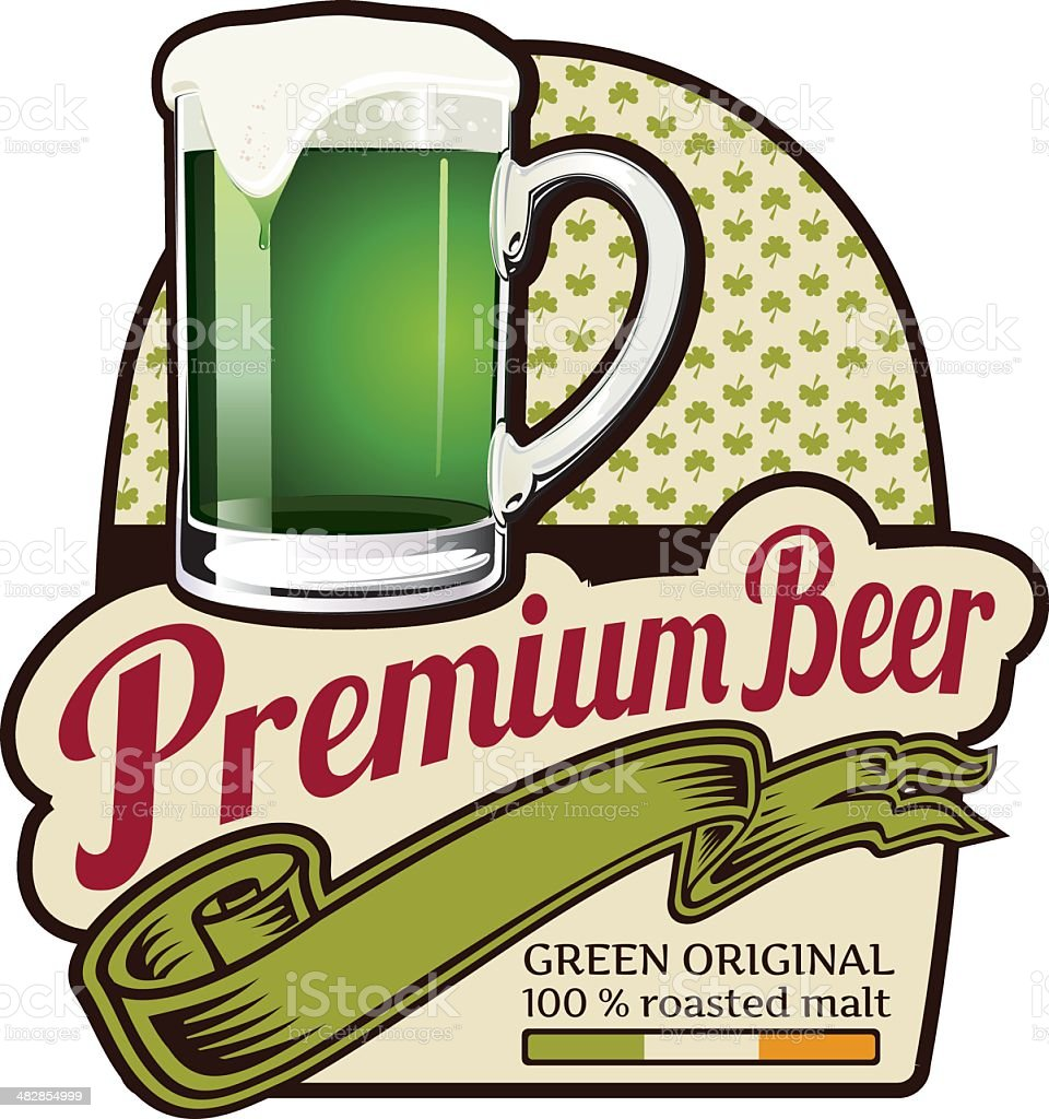 Premium Green Beer Label vector art illustration