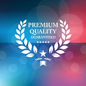 Vector of premium guaranteed emblem on red and blue defocused background. EPS Ai 10 file format.