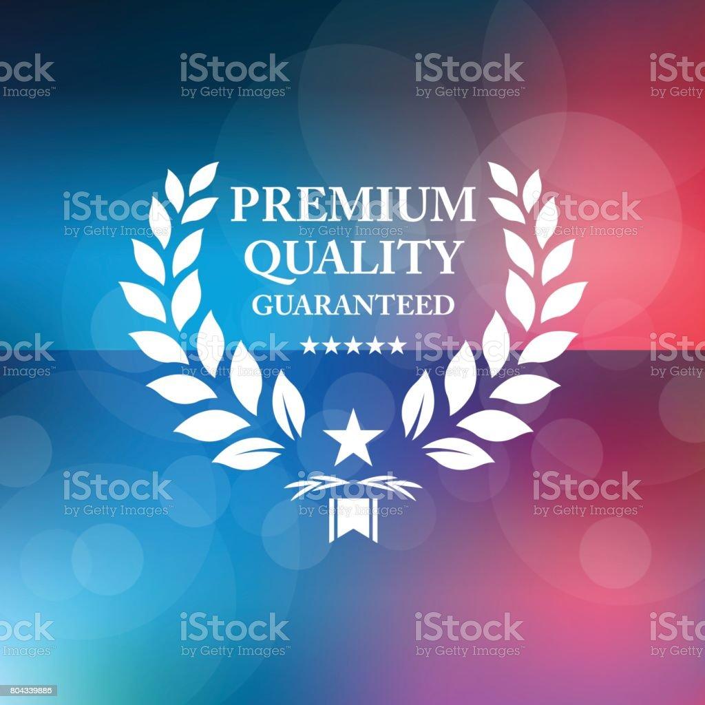 Premium guaranteed emblem on watercolor background vector art illustration