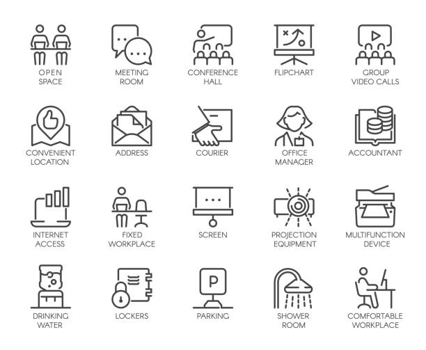 ilustrações de stock, clip art, desenhos animados e ícones de premium icons pack of coworking center and workspace, business space and office equipment. such line signs as workplace, accountant, manager. custom vector icons set in outline style editable stroke - coworking