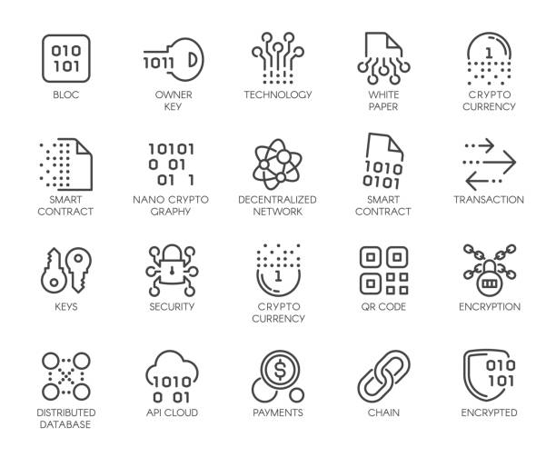 Premium Icons Pack on Blockchain System, Crypto Technology . Such Line Signs as Cryptographic Decentralised Database . Custom Vector Icons Set for Web and App in Outline Style. Editable Stroke. Premium Icons Pack on Blockchain System, Crypto Technology . Such Line Signs as Cryptographic, Decentralised Database . Custom Vector Icons Set for Web and App in Outline Style. Editable Stroke. initial coin offering stock illustrations